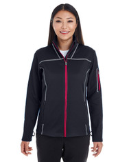 Black/Grey/Classic Red - FRONT - NE703W Ash City - North End Ladies' Endeavor Interactive Performance Fleece Jacket