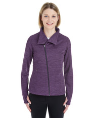 Purple/Carbon - NE704W Ash City - North End Ladies' Amplify Melange Fleece Jacket