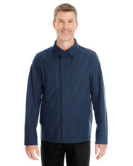 Navy - FRONT - NE705 Ash City - North End Men's Edge Soft Shell Jacket with Fold-Down Collar