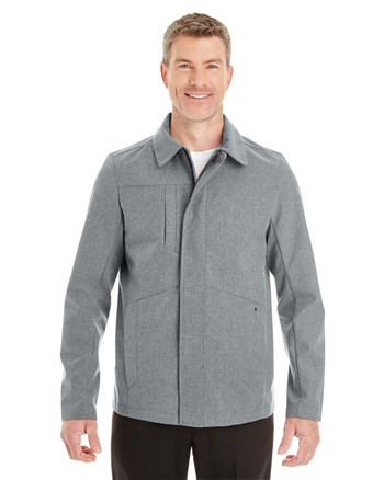 City Grey - FRONT - NE705 Ash City - North End Men's Edge Soft Shell Jacket with Fold-Down Collar