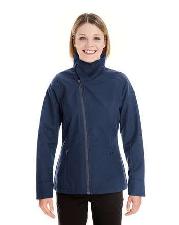 Navy - FRONT - NE705W Ash City - North End Ladies' Edge Soft Shell Jacket with Fold-Down Collar