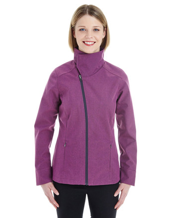 Raspberry - FRONT - NE705W Ash City - North End Ladies' Edge Soft Shell Jacket with Fold-Down Collar