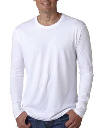 White - N3601 Next Level Men's Premium Fitted Long Sleeve Crew Tee