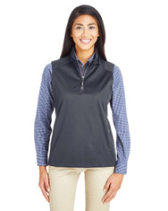 Carbon - CE709W Ash City - Core 365 Ladies' Techno Lite Three-Layer Knit Tech-Shell Quarter-Zip Vest | Blankclothing.ca