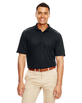 Black - 88181R Ash City - Core 365 Men's Radiant Performance Piqué Polo with Reflective Piping | Blankclothing.ca