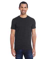 Black Invisible Stripes - 152A Threadfast Men's Invisible Stripe Short-Sleeve T-Shirt    Blankclothing.ca