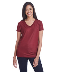 Liquid Cardinal - 240RV Threadfast Ladies' Liquid Jersey V-Neck T-Shirt