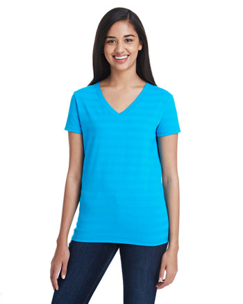 Turquoise Invisible Stripes - 252RV Threadfast Ladies' Invisible Stripe V-Neck T-Shirt