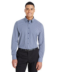 Navy - DG535 Devon & Jones Men's CrownLux Performance™ Tonal Mini Check Shirt