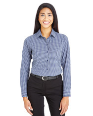 Navy - DG535W Devon & Jones Ladies' CrownLux Performance™ Tonal Mini Check Shirt