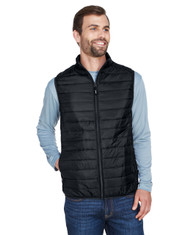 Black - CE702 Ash City - Core 365 Men's Prevail Packable Puffer Vest | BlankClothing.ca