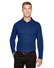 True Royal- DG20LT Devon & Jones Men's Tall CrownLux Performance™ Plaited Long-Sleeve Polo Shirt | BlankClothing.ca