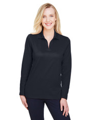 Black - DG20LW Devon & Jones Ladies' CrownLux Performance™ Plaited Long-Sleeve Polo Shirt | BlankClothing.ca