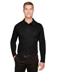 Black - DG20L Devon & Jones Men's CrownLux Performance™ Plaited Long-Sleeve Polo Shirt | BlankClothing.ca