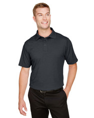 Black Heather - DG22 Devon & Jones Men's CrownLux Performance™ Address Mélange Polo Shirt | BlankClothing.ca