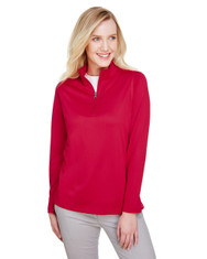 Red - M748W Harriton Ladies' Advantage Snag Protection Plus IL Quarter-Zip Athletic Shirt | BlankClothing.ca