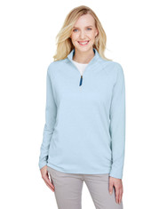 Ocean Blue - DG480W Devon & Jones Ladies' CrownLux Performance™ Clubhouse Micro-Stripe Quarter-Zip Active Shirt | BlankClothing.ca