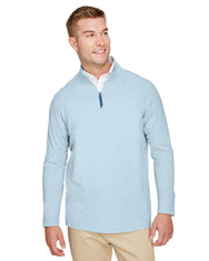 Ocean Blue - DG480 Devon & Jones Men's CrownLux Performance™ Clubhouse Micro-Stripe Quarter-Zip Active Wear | BlankClothing.ca