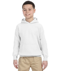 White G185B Gildan Heavy Blend Youth 50/50 Hoodie | Blankclothing.ca