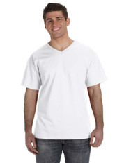 White 39VR Fruit of the Loom 100% Heavy Cotton HD® V-Neck T-Shirt | Blankclothing.ca