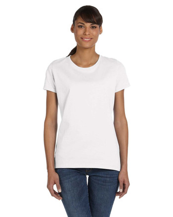 White L3930R Fruit of the Loom Ladies' 100% Heavy Cotton HD® T-Shirt | Blankclothing.ca
