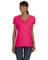 Cyber Pink Ladies' Heavy Cotton HD® V-Neck T-Shirt