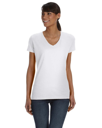 White L39VR Fruit of the Loom Ladies' 100% Heavy Cotton HD® V-Neck T-Shirt | Blankclothing.ca