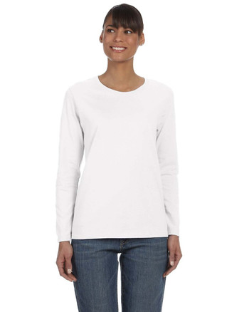 White G540L Gildan Heavy Cotton Ladies' Long Sleeve T-Shirt | Blankclothing.ca