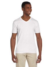 White G64V Gildan Softstyle V-Neck T-Shirt | Blankclothing.ca