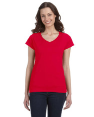 Cherry Red G64VL SoftStyle Ladies' Junior Fit V-Neck T-Shirt