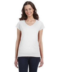 White G64VL SoftStyle Ladies' Junior Fit V-Neck T-Shirt | Blankclothing.ca