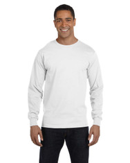 White G840 Gildan DryBlend 50/50 Long Sleeve T-Shirt | Blankclothing.ca