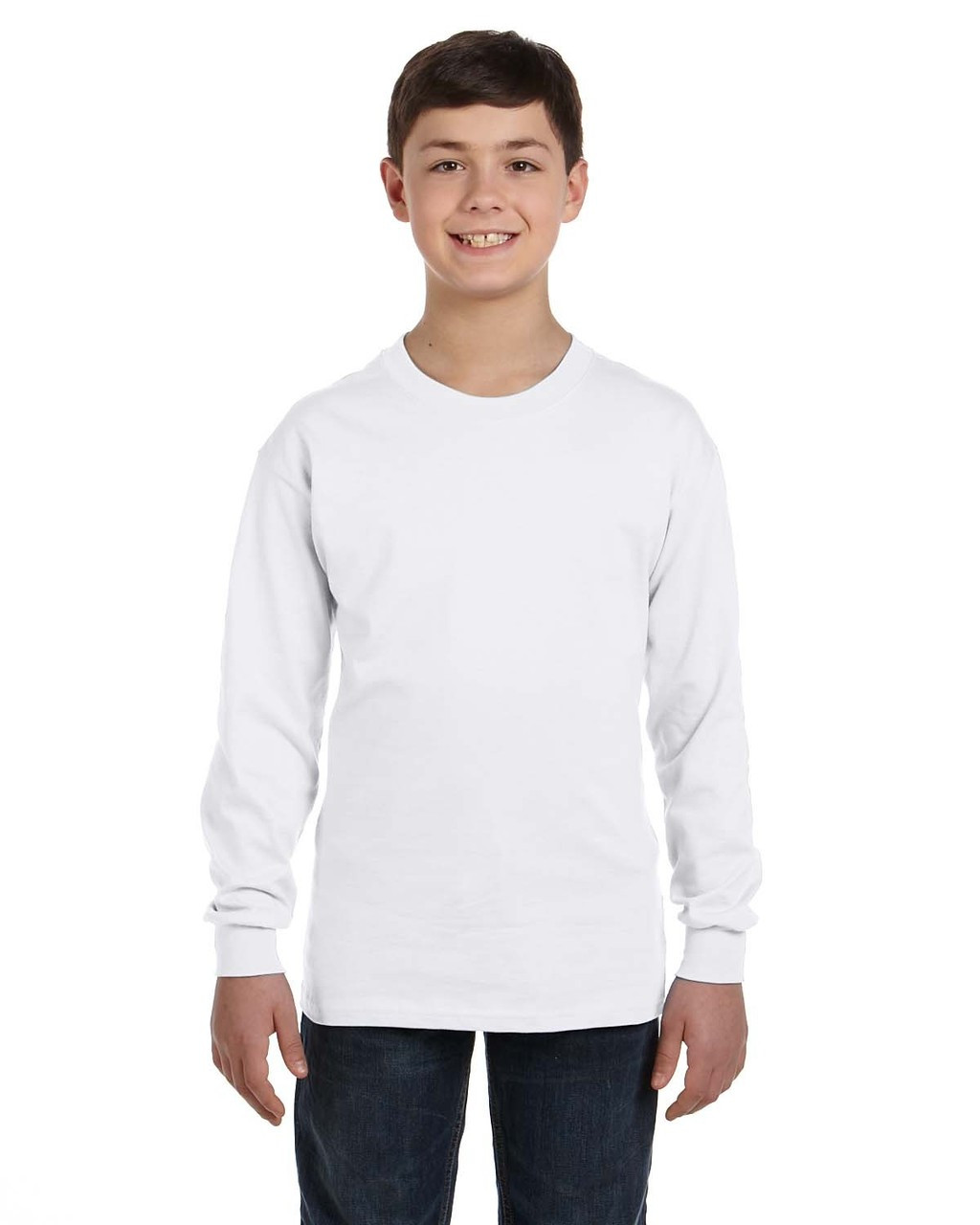 60536a7960c White G540B Gildan Heavy Cotton Youth Long Sleeve T-Shirt