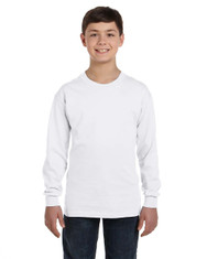 White G540B Gildan Heavy Cotton Youth Long Sleeve T-Shirt | Blankclothing.ca