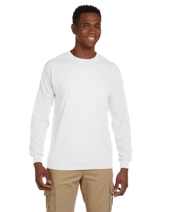 White G241 Gildan Ultra Cotton Long Sleeve Pocket T-Shirt | Blankclothing.ca
