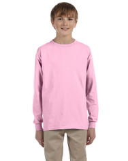 Light Pink G240B Ultra Cotton Youth Long Sleeve T-Shirt
