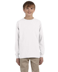 White G240B Ultra Cotton Youth Long Sleeve T-Shirt | Blankclothing.ca