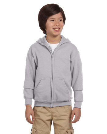 Sport Grey G186B Gildan Heavy Blend Youth 50/50 Full Zip Hoodie | Blankclothing.ca