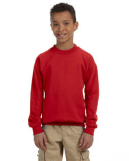 Red G180B Heavy Blend Youth 50/50 Fleece Crew