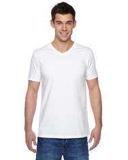 White 100% Softspun Cotton Jersey V-Neck T-Shirt