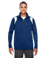Dark Navy/White - TT32 Team 365 Men's Elite Performance Quarter-Zip Sweater