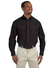 Black M510T Harriton Tall Essential Poplin Shirt