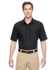 Black M545 Harriton Men's Advantage Snap Closure Short-Sleeve Shirt