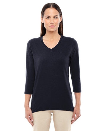 Black DP184W Devon & Jones Ladies' Perfect Fit Bracelet Length V-Neck Top