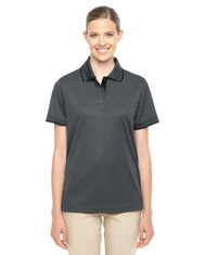 Carbon/Black 78222 Ash City - Core 365 Ladies' Motive Performance Pique Polo with Tipped Collar | Blankclothing.ca