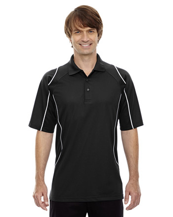 Black 85107 Ash City - Extreme Eperformance Men's Velocity Polo Shirt with Piping