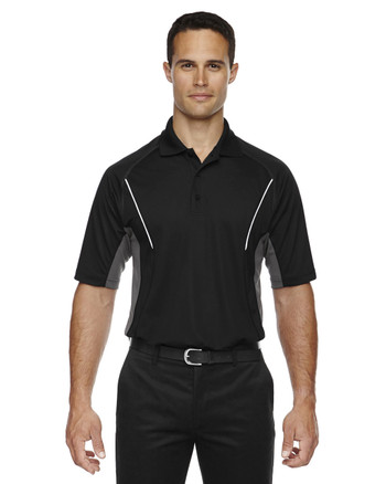 Black 85110 Ash City - Extreme Eperformance Men's Parallel Polo with Piping