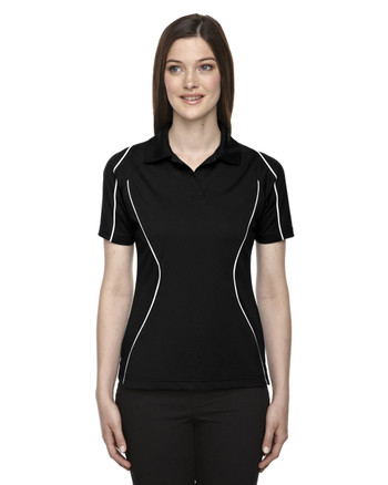 Black 75107 Ash City - Extreme Eperformance Ladies' Velocity Colourblock Polo with Piping