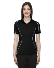 Black 75107 Ash City - Extreme Eperformance Ladies' Velocity Colourblock Polo Shirt with Piping