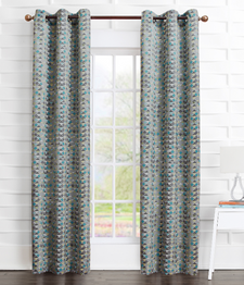 Allen Geometric Print Grommet Top Curtain Panel